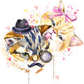Cat. Cute Cat illustration. Love card.