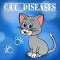 Cat diseases indicates felines and puss illness showing kitty disorder Royalty Free Stock Image