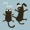Cat and dog black bule Stock Photography
