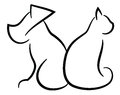 Cat and Dog Contour Simplified Black Silhouettes