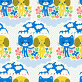 Cat and dog cute cartoon characters under the rain seamless pattern with funny with clouds flowers mushrooms Royalty Free Stock Photos