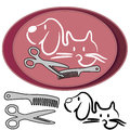 Cat and dog grooming logo