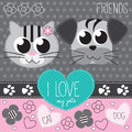 Cat and dog illustration Royalty Free Stock Photography