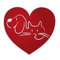 Cat and dog love logo