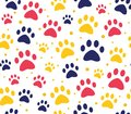 cat or dog paw seamless patterns. backgrounds for pet shop websites and prints. Animal footprint Royalty Free Stock Photo