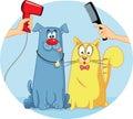 Cat and Dog at Pet Salon Vector Cartoon Royalty Free Stock Photo