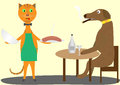 Cat and dog are in the restaurant Stock Photos