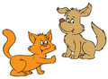 Cat and Dog (vector clip-art) Stock Photography