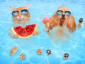 Cat and dog wearing sunglasses relaxing in the sea . Royalty Free Stock Photo