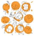 Cat, Dragon, goat, horse, monkey, pig, rat, sheep, snake