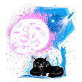 Cat dream black is dreaming of different tasty food and the blue dreams of flying on a rocket into space by the light of the moon Royalty Free Stock Photo