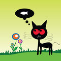 Cat dreem fish on the meadow vector illustration