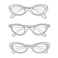Cat eye vintage glasses hand drawn line art illustration