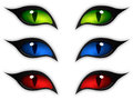 Cat eyes set of three different color car vector illustration Royalty Free Stock Photos