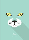 Cat face flat icon design, vector illustration