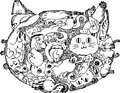 Cat face sketchy doodle made of cats funny sketched illustration Stock Images