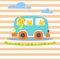 Cat family in hipster van vector illustration for kid apparel.