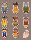 Cat family stickers Royalty Free Stock Photos