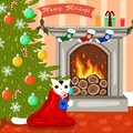 A cat by the fireplace and a Christmas tree Royalty Free Stock Photo