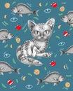 Cat with fish around