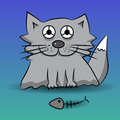 Cat and fish skeleton Royalty Free Stock Photo