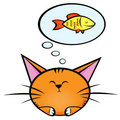 Cat and fish2 Royalty Free Stock Images