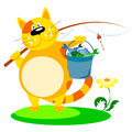 Cat with a fishing rod and fish Royalty Free Stock Image