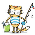 Cat with fishing rod and a fish in bucket vector quick sketch of happy fisher Royalty Free Stock Image