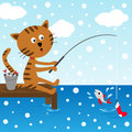 Cat fishing at winter day Royalty Free Stock Images