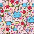 Cat flower friend happy dance seamless pattern