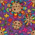 Cat flower petal cute seamless pattern