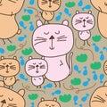 Cat follow cat seamless pattern Royalty Free Stock Photo