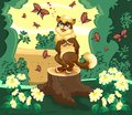 Cat in the forest is admired by the butterflies Royalty Free Stock Photo