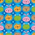 Cat frog bear rabbit head symmetry seamless pattern