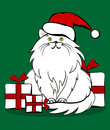 The cat with gifts christmas illustration in cute hat and line art vector file is eps all elements are grouped Royalty Free Stock Images