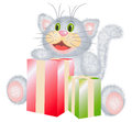 Cat with the gifts illustration of grey fluffy smiling Royalty Free Stock Photo