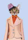 Cat girl dressed up in classic retro style. Royalty Free Stock Photo
