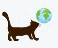 Cat and globe cartoon funny Royalty Free Stock Photos