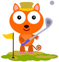 Cat golf an illustration of a cute playing Stock Images