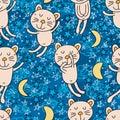 Cat good night seamless pattern Royalty Free Stock Photo