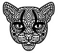 Cat. Hand-drawn wild cat with ethnic doodle pattern. Coloring page - zendala, design for spiritual relaxation for adults Royalty Free Stock Photo