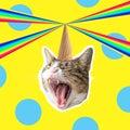Cat head with rainbow, collage pop art concept design. Minimal summer background