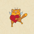 Cat with heart Royalty Free Stock Photo