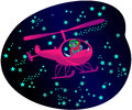 Cat in helicopter in the night among stars Royalty Free Stock Images