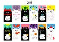 Cat horizontal monthly calendar 2019. Cute funny cartoon character set. All month. Happy Valentines Christmas St Patrick day Easte