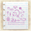 Cat icons doodle set  on paper note, vector illustration Royalty Free Stock Photo