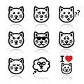 Cat icons set happy sad angry on white vector of cute characters expressing anger happiness Stock Image