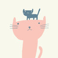 Cat Illustration For Mothers Day