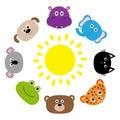 Cat, jaguar, dog, hippopotamus, elephant, bear, frog, koala. Roundelay sun. Zoo animal head face. Cute cartoon character set. Baby Royalty Free Stock Photo