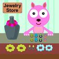 Cat and jewels illustration of a cartoon selling jewelries Stock Images
